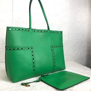🌸OFFERS?🌸Tory Burch Leather Green Tote Set